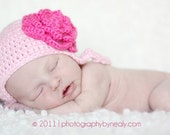 Crocheted Earflap Hat with braids  Pink with Hot pink flower