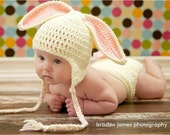 SUPER SALE ready to ship Crocheted Baby  Cream/pink Easter Bunny Hat and Diaper Cover set