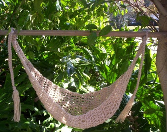 Crocheted  Baby Hammock   Photo Prop Only   Ready to ship  TAN BUFF
