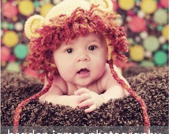 PDF Pattern Crocheted Baby Lion Earflap Hat