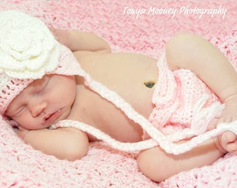 Crocheted Newborn  PRETTY IN PINK Baby Diaper Cover and hat set   Newborn  Photo Prop  Ready to ship