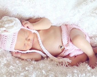 PDF PATTERN for Crocheted Baby Pretty in Pink Hat and Diaper Cover set   Instructions for newborn to 3 months and 3-6 months