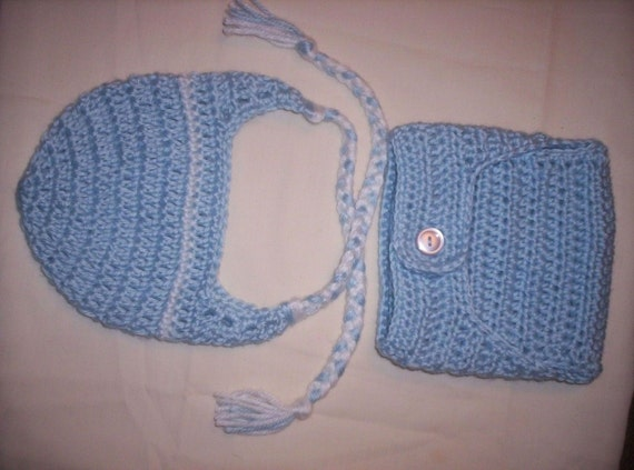 Crocheted Newborn Baby BLUE  Earflap Hat and Diaper Cover set