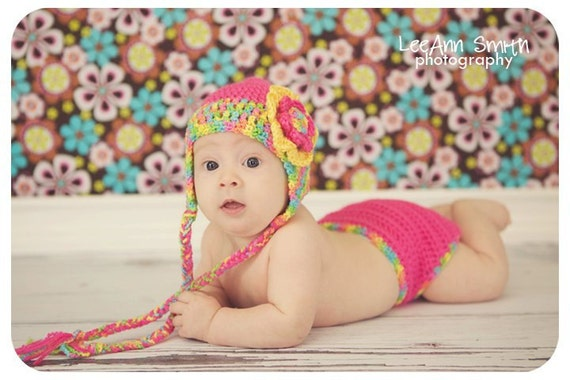Crocheted Summer Earflap Hat  and Diaper set  13 inches 0 to 3 months