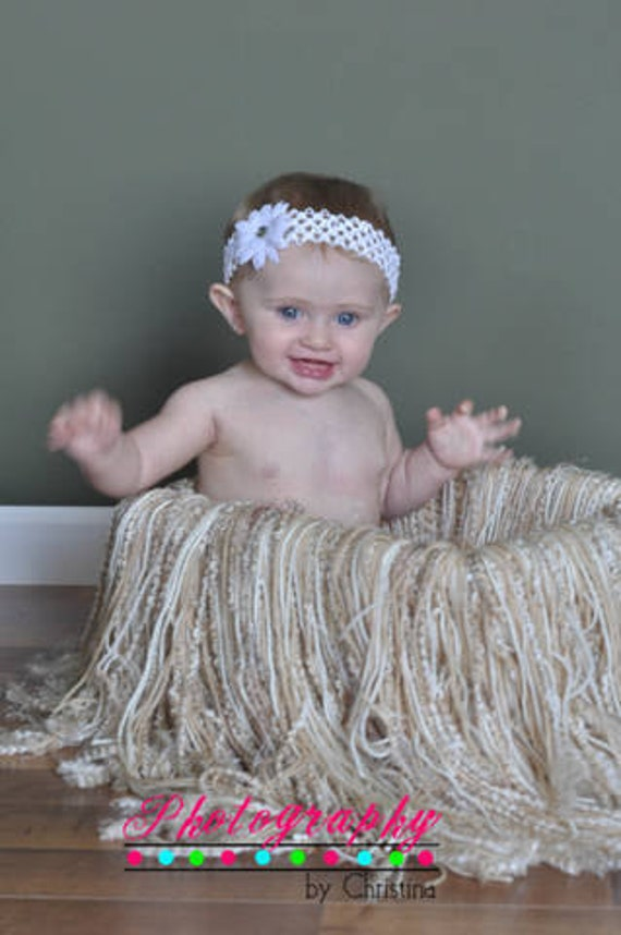 Crocheted Tan/Creams Fringe  Blanket Photo Prop Only SUPER SOFT