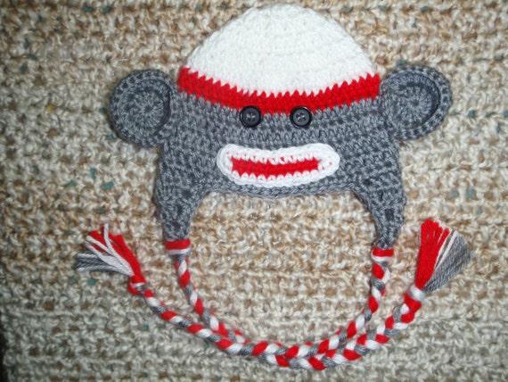 PDF Pattern Crocheted Baby Sock Monkey Earflap Hat with braids