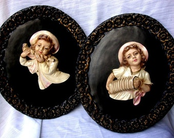 30s/40s French Vintage Chalkware Wall Plaques