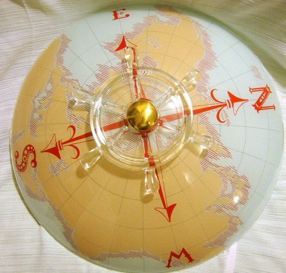 Nautical Shade For Vintage String Lights: Vintage Nautical Ceiling Light Cover Compass