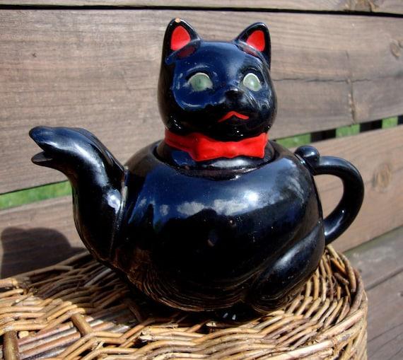 Mid Century Shafford Redware Cat Teapot