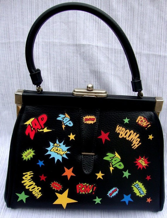 Upcycled Vintage 40s Doctors Bag  Comic Book Effects