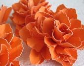 Handmade Tangerine Paper Flowers - Set of 4