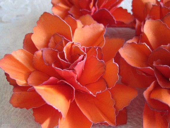 Two Tone Tangerine-Red Handmade Paper Flowers with purple accents - Set of 4
