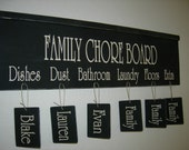 FAMILY CHORE BOARD with Crown Molding and 6 personalized name tags included