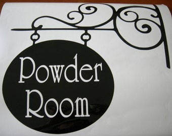 Powder Room - Silhouette of a Wrought Iron Style DECAL