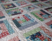 REDUCED PRICE Twin size Log Cabin Quilt with DS Quilt's Picnics and Fairgrounds fabric.