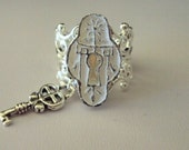 Under Lock And Key Charm Ring in Silver- FREE SHIPPING