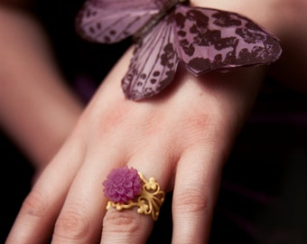 SALE - Originaly 12.00 - Pink Lemonade Mum Filigree Ring - FREE SHIPPING
