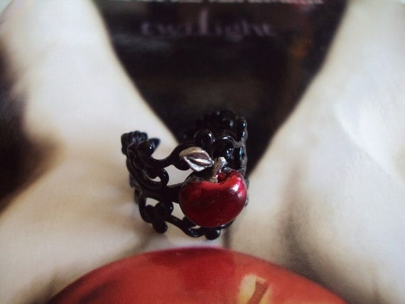 Once Upon A Time Snow White Inspired Apple Ring in Black- FREE U.S. SHIPPING