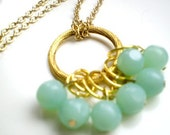 Statement Necklace, Long Gold Chain, Seafoam, Mint Beaded Cluster Necklace,Statement Jewelry by ExclusivelyZoe on Etsy - ExclusivelyZoe