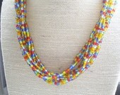 Braided Seed Bead Statement Necklace, Layered Necklace, Silver, Blue, Sky Blue, Orange, Red, Yellow, Green, Statement Jewelry by ExclusivelyZoe on Etsy