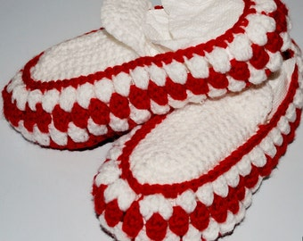 Crochet Slippers - Red and White