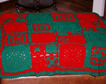 Crochet Red and Green Afghan