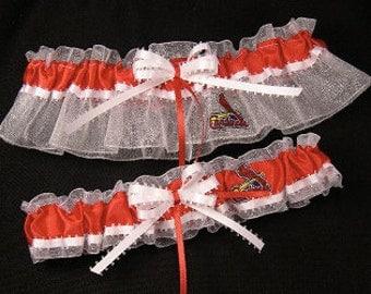 St. Louis Cardinals Wedding Garter Set, Handmade, Can Be Personalized