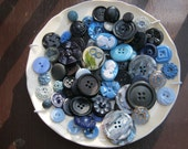 Vintage Buttons, Blue Lot, over 100