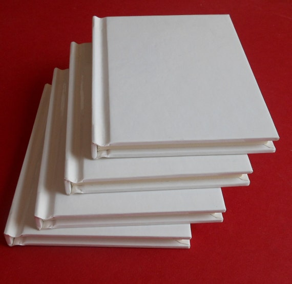 """4 small HARDCOVER BLANK BOOKS - 3 1/2"""" x 4 5/8"""" - 48 pages of cream stock- Begin that novel, Create that book, Everything is possible"""