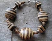 Wood Bead Bracelet Dark and Light Striped Brown