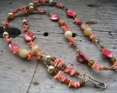 Peach Coral Beaded ID Badge Lanyard