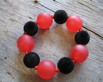 Chunky Jewelry Set for Small Wrist,  Watermelon Red and Black Velvet