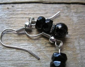 Delicate Simple Everyday Black Drop Earrings