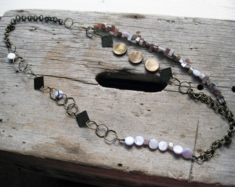 Lavender Shell, Copper Coin Shell, and Antique Brass Long Chain Necklace