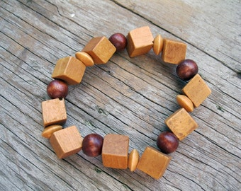 Wood Bead Necklace, Earrings, and Stretch Bracelet