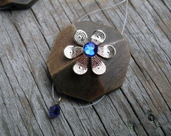 Dark Wood Chandelier Earrings with Sapphire and Gold Flower