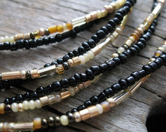 Lariat Necklace Black and Gold