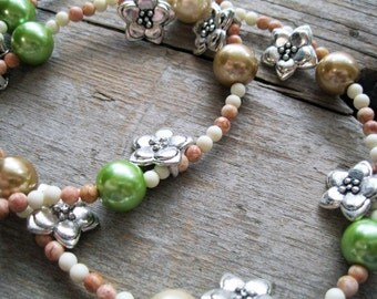 Spring Flower Charm Lime Green and Wheat Pearl Necklace