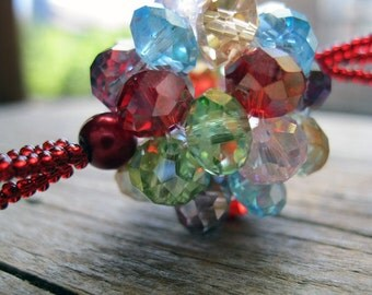 Cherry Red Chinese Crystal Cluster Necklace