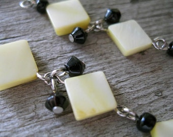 Spring Yellow Charm Earrings and Black