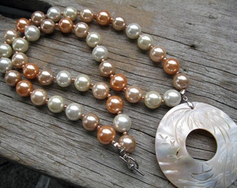 Peach Pearl Necklace with Shell Pendant and Earrings