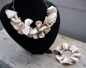 Large Taupe Abalone Shell Bib Statement Ribbon Necklace and Stretch Bracelet