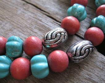 Turquoise Double Strand Necklace with Coral Wood Beads