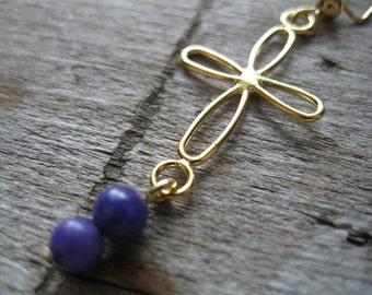Purple and Gold Cross Earrings