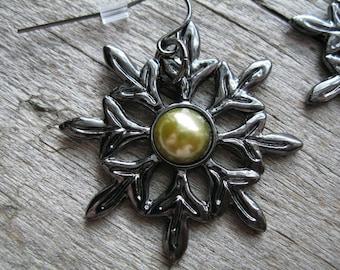 Black Metal Flower and Chartreuse Pearl Earrings