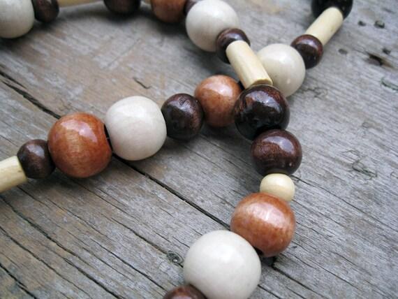 Wooden Bead ID Badge Holder Lanyard