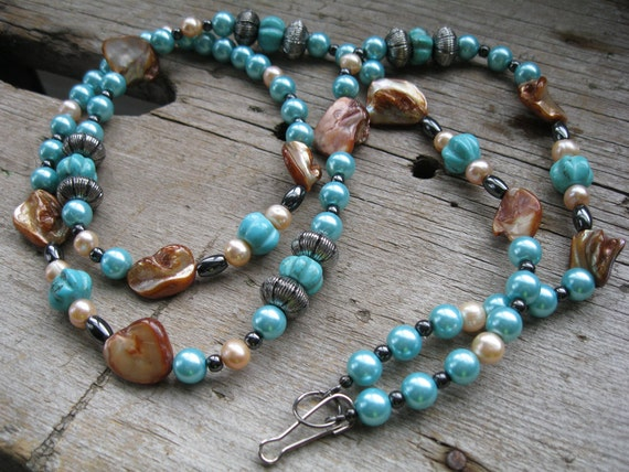 Turquoise Beaded ID Badge Lanyard with Peach Pearls and Shells