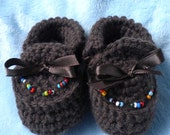 Crocheted  Moccasins Newborn 0 3 mo Brown w Hand Beading