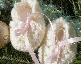 Crocheted Baby Booties Antique White Newborn Pink Ribbon