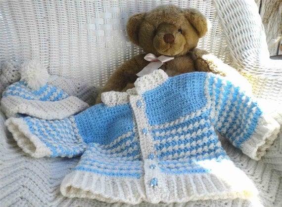 Crochet Infant Boy Blue & White Sweater w Matching Hat 3 - 6 mo